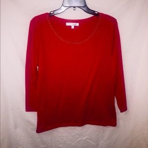 Red & Gold Long Sleeve Blouse.